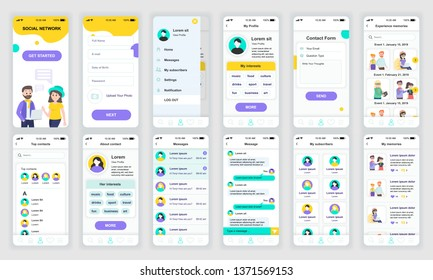 Set of UI, UX, GUI screens Social Network app flat design template for mobile apps, responsive website wireframes. Web design UI kit. Social Network Dashboard.