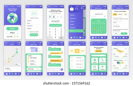 Set of UI, UX, GUI screens Delivery app flat design template for mobile apps, responsive website wireframes. Web design UI kit. Delivery Dashboard.