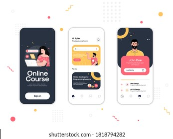 Set of UI, UX, GUI screens Online Course app flat design template for mobile apps, responsive website wireframes. Web design UI kit. Online Course Dashboard.