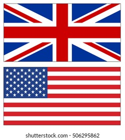 Set of UK and USA flags illustration on white background. British and American flags. Vector illustration