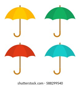 Set of umbrellas. Yellow, green, red and blue umbrellas. Vector flat icon