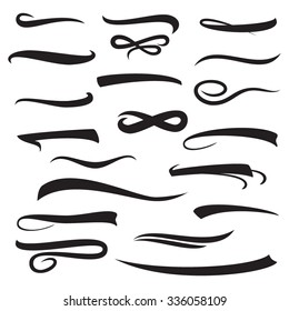 Set of underline lettering lines isolated on white, vector illustration