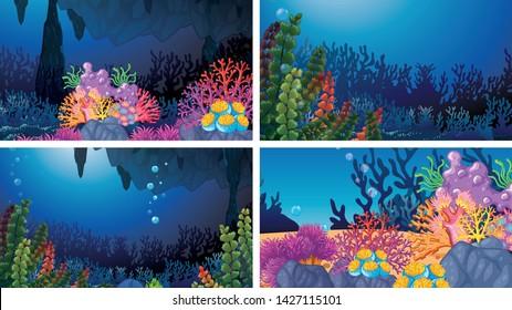Set of underwater coral scenes illustration