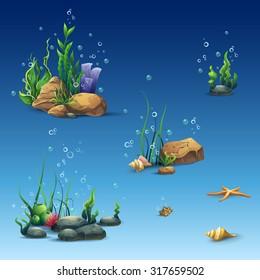 Set underwater world different elements  flora and fauna