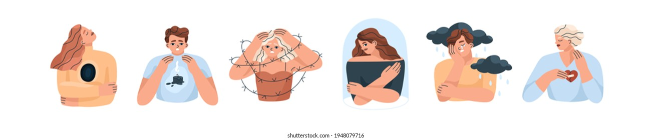 Set of unhappy sad people with bad mood, suffering from grief, soul hurt, offense, sorrow and other negative psychological states and problems. Colored flat vector illustration isolated on white