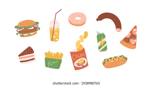 Set of unhealthy junk food. Fastfood icons of burger, hot-dog, pizza, sausage, chips, french fries, donut, cake and soda. Colored flat vector illustration of fat eating isolated on white background