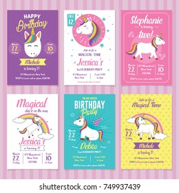 Set of Unicorn Birthday Invitation Cards