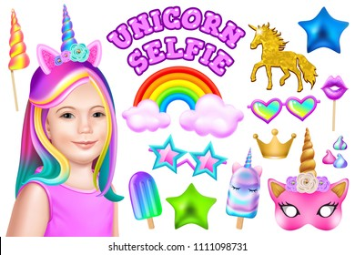 Set unicorn selfie. Face girl with colored hair, hoop, mask, crown, sunglasses and other elements. Isolated realistic vector illustration.