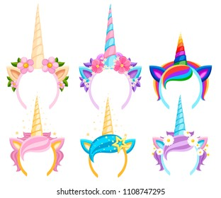 Set of Unicorn tiaras with flowers and leaf. Vector fashion accessory headband. Head band with rainbow style. Vector illustration isolated on white background.