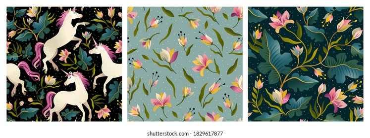 Set of unicorns and floral on a dark background with a fairy forest. Seamless pattern.