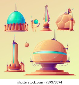 Set of unidentified space objects, UFO, ships of extraterrestrial alien invaders,  research stations, vector cartoon illustrations. Elements for game design.