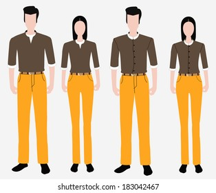 Set of uniform fashion people
