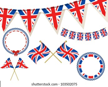 set of union jack flags, bunting and rosettes