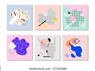 Set of unique artistic design cards. Vector graphics. Use it for invitations, posters or postcards, decorations. Memphis design style. 80's geometric style.