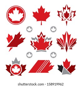 A set of unique Canadian maple leaf vector icons.