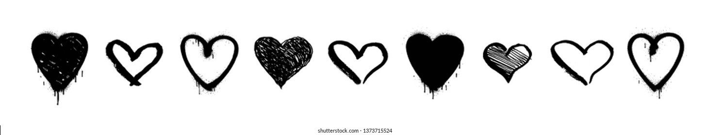 Set of unique hand drawn hearts. Painted and graffiti vector design elements.