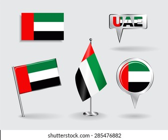 Set of United Arab Emirates pin, icon and map pointer flags. Vector illustration.