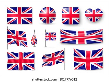 Set United Kingdom flags, banners, banners, symbols, flat icon. Vector illustration of collection of national symbols on various objects and state signs