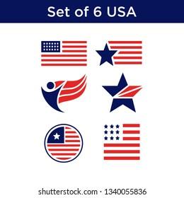 set of united states flag usa american symbol wavy shape