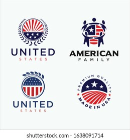 Set Of United States Logo Design Vector Stock . Made in usa Logo american flag . USA logo .  American Flag Logo