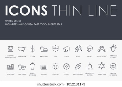 Set of UNITED STATES Thin Line Vector Icons and Pictograms