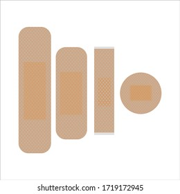 Set of universal beige cut wound antibacterial patch for accident on an isolated white background. Concept design of medicine and healthcare. Help with pain against bacteria. Vector graphics.