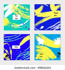 Set of universal cards and invitations, abstract modern style. Design for poster, card, invitation, placard, brochure, flyer.
