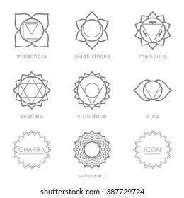 Set of universal chakras icons at flate design.
