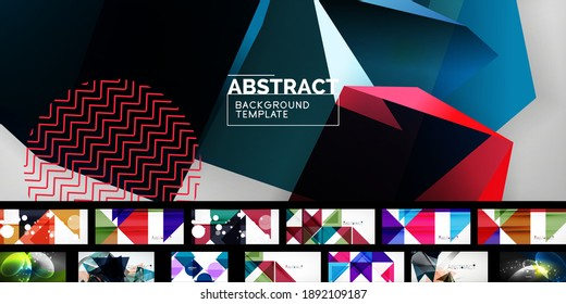 Set of universal geometric templates for covers, banners, flyers, social media