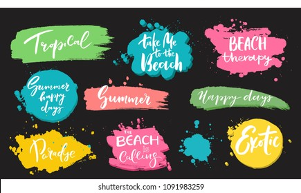 Set of universal hand drawn paint background. Summer quotes. Speech bubble. Dirty artistic design elements, boxes, frames for text.