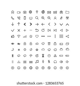 set universal modern  icons for web and mobile, thin line