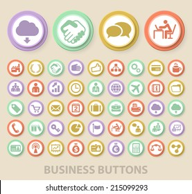 Set of Universal Standard Business Icons on Elegant Modern Three-dimensional Colored Circular Buttons on Colored Background.