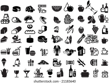 Set of universal supermarket symbols as foods, winery, grocery etc. - for icons, signs, labels, cards and posters