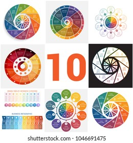 Set universal templates elements Infographics conceptual cyclic processes for 10 positions possible to use for workflow, banner, diagram, web design, timeline, area chart,number options