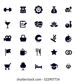 Set universal theme vector modern simple icons point of interest for web design and mobile app. White vector illustration for using interface.