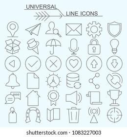 Set  universal vector line icons editable stroke