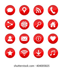 Set of universal web icons for media, communication, business, mobile and  meteorology. Collection of different elements on red circle buttons. Vector illustration.