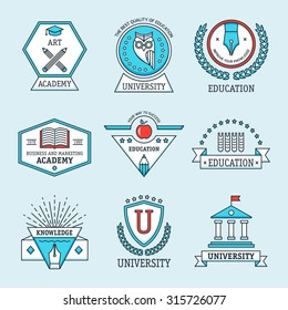 Set of university and college school crests and logo emblems, symbols, icons and badges template. Modern vector pictogram collection concept.
