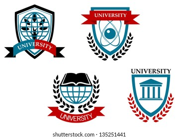 Set of university and education emblems isolated on white background. Jpeg version also available in gallery