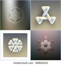 Set of unreal impossible geometric figures, abstract patterns, vector elements for design.