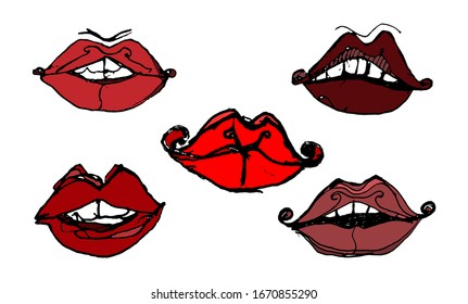 A set of unusual exclusive lips in the style of an arthouse of red, burgundy, pink, brown colors. Sloppy lip sketch, jagged line. Drawing for comics, cartoons, books, signage. Vector.