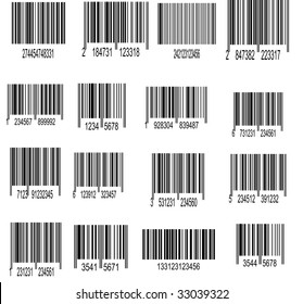 Set of UPC Bar codes, all data is fictional