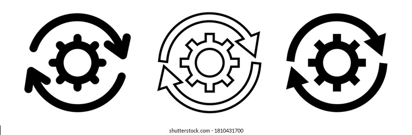 Set of update system icons with gears, loading or updating files, install new software, operating system, update support, setting options, maintenance, adjusting app process, service concept