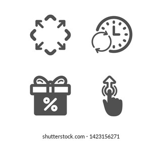 Set of Update time, Maximize and Discount offer icons. Swipe up sign. Refresh clock, Full screen, Gift box. Touch technology.  Classic design update time icon. Flat design. Vector