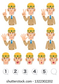 A set of upper body expression and numbers of building workers wearing beige work clothes that counts numbers with fingers