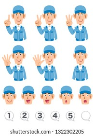 A set of upper body expression and numbers of men wearing blue working clothes that counts numbers with fingers