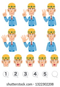 A set of upper body expression and numbers of building workers wearing blue working clothes that counts numbers with fingers
