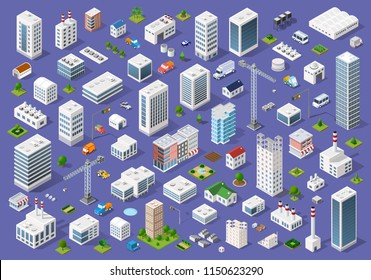 Set of urban 3d buildings of different colors for creativity and design, includes skyscrapers, houses, shops, offices, natural sites, trees, transport