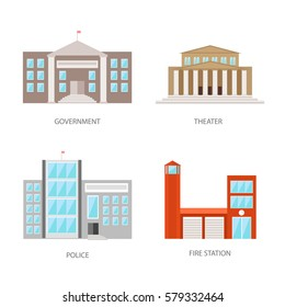 Set of urban buildings in a flat style. Government building, theater, police and fire station. Vector, illustration isolated on white background EPS10.
