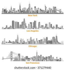 set of urban cities of New York, Chicago, Los Angelews and San Francisco illustrations in grey scales